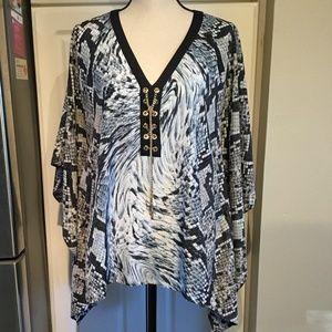 Michael Kors Kimono Style Snakeskin Top Size XL